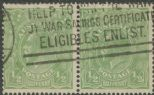 SG 20b ACSC 63(4)e. KGV Head ½d Green pair (AHSUP/76)